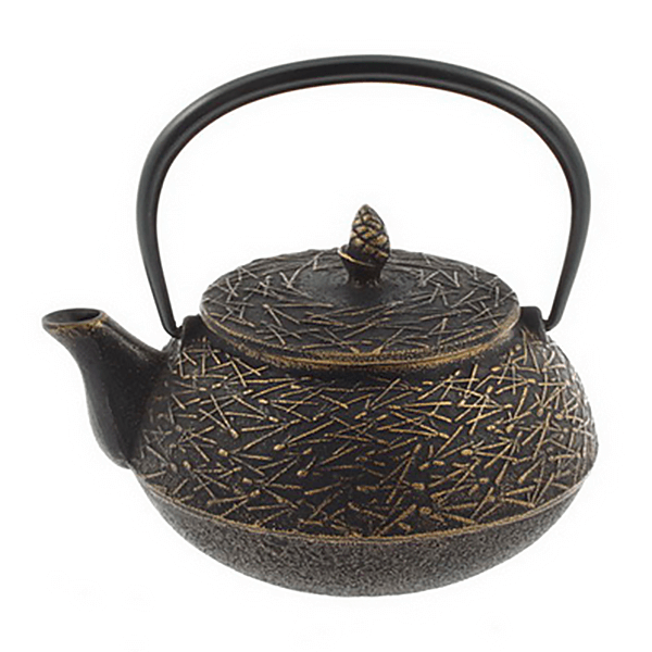 Cast Iron Tea Pot Matsuba Gd/Blk Pine Needle 0.65L