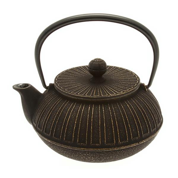 Cast Iron Tea Pot Stripe Gold/Black Chrysanthemum