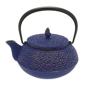 Cast Iron Tea Pot Gd/EuropaBlu Pine Needle