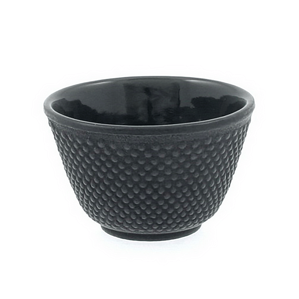Cast Iron Tea Cup Black Hobnail