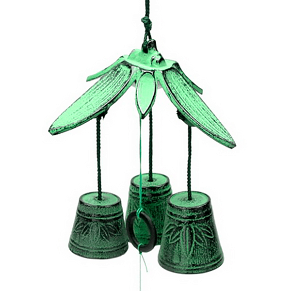 Wind Chime Triple Green Bamboo
