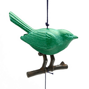 Wind Chime Green Songbird/Branch