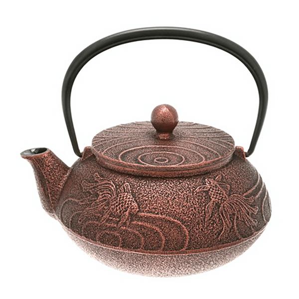 Cast Iron Tea Pot Copper/Blk Goldfish 0.65L